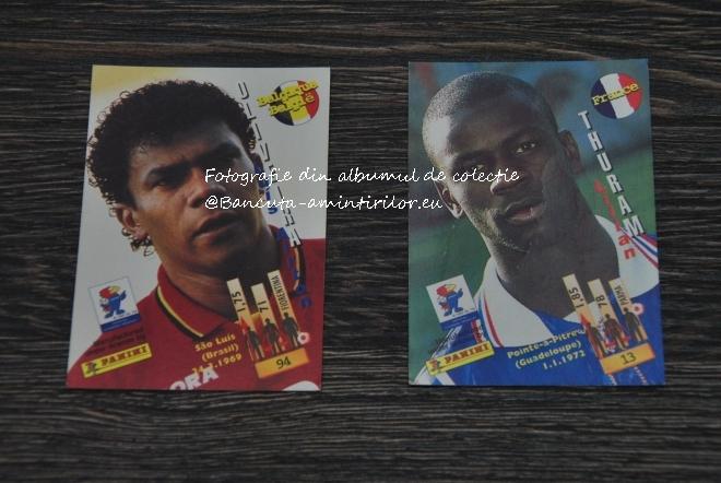 Cartonase Panini France '98 - Oliveira de la Belgia si Lilian Thuram al Frantei